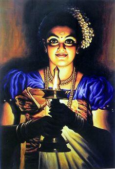Lady with a Lamp - Kerala Style (Raja Ravi Varma Painting Reprint on Paper - Unframed) Ravivarma Paintings, Indian Art Paintings, Nature Paintings, Kerala Mural Painting, Art Painting Gallery, Painting Pictures, Indian Women Painting, Indian Artist, Raja Ravi Varma