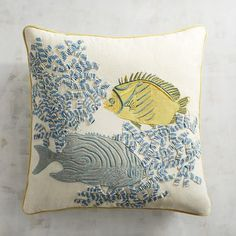 Coastal decor takes a deep dive with our appliqued and intricately embroidered pillow. Covered in a cotton/linen blend, it's perfect for giving your decor a nautical nod. Cushion Embroidery, Embroidery Kits, Beaded Embroidery, Nautical Pillows, Diy Pillows, Throw Pillows, Fish Pillow, Pillow Texture, Needlepoint Patterns