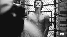 Evan Peters flashed his co-stars during a shower scene.