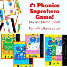 #1 MIX AND MATCH SUPERHERO PHONICS CARD GAME!  Learn to Read and Spell short/long vowels in 3-and-4 letter words!  Remember those silly words are actually syllables in larger words!   Create over 1700 Superheroes with up to 3 powers each!   #phonics #kindergarten #firstgrade #secondgrade #literacy #homeschool #dyslexia #superhero #superheroes #funny #funnygames #readinggames #cardgames #cvc #cvce #cvvc #fungames Reading Games, Reading Skills, Reading Strategies, Early Elementary Resources, Spelling And Handwriting, Phonics Cards, Silly Words, Alphabet Games, Beginning Reading