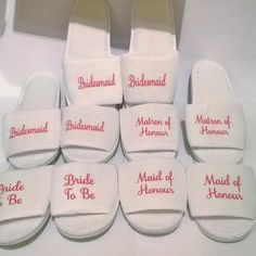 Get your personalized open toed slippers for weddings bridal parties spa weekends from us. Bride Slippers, Wedding Slippers, Wedding Shoes, Women's Slippers, Wedding Outfits, Wedding Dresses, Bridesmaids And Groomsmen, Wedding Bridesmaids, Bridesmaid Duties