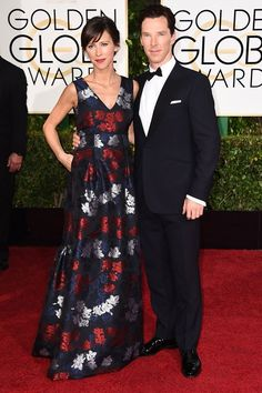 Picture perfect: Benedict Cumberbatch and his pregnant fiancée Sophie Hunter walked the red carpet together at the Golden Globes, held at the Beverly Hilton Hotel in Beverly Hills, California on Sunday Golden Globe Award, Golden Globes, Benedict Cumberbatch Sophie Hunter, Beverly Hills, Imitation Game, Rhapsody In Blue, Best Dressed Man, Star Wars, Hollywood