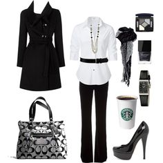 """Black and White Work Chic"" by chelseawate on Polyvore"