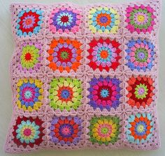 hippie happy granny square cushion cover   in powderpink edg…   By: riavandermeulen   Flickr - Photo Sharing!
