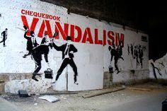 Chequebook Vandalism Graffiti by Banksy, London Bridge Banksy Graffiti, Bansky, Graffiti Wall Art, Street Art Graffiti, Stencilling Techniques, Stencil Art, London, Street Artists, Urban Art