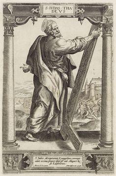 Hieronymus Wierix | H. Judas Taddeüs, Hieronymus Wierix, Jan Ditmaer, Anonymous, 1580 - 1613 | De heilige Judas Taddeüs staat tussen twee zuilen in een architecturale omlijsting. In zijn hand houdt hij een omgekeerd kruis. Op de achtergrond is te zien hoe hij eerst wordt doodgeslagen met een knuppel en daarna wordt onthoofd met een bijl. In het kader onderaan een drieregelig onderschrift in het Latijn.