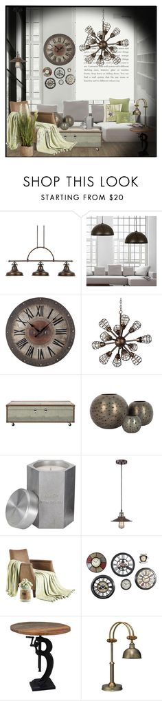 """""""Industrial Interior !!"""" by eco-art ❤ liked on Polyvore featuring interior, interiors, interior design, home, home decor, interior decorating, Quoizel, Franklin Iron Works, Safavieh and Jayson Home"""