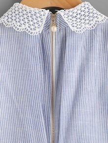Contrast Scallop Lace Trim Pinstripe Blouse – The Bellevue Boutique Floral Embroidery Dress, White Embroidery, Crochet Trim, Crochet Lace, Red Blouses, Blouses For Women, Chiffon Blouses, Modele Hijab, Modelista