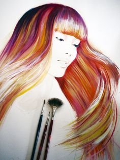 Beauty Illustration, watercolor and oil pastels by Hodaya Louis