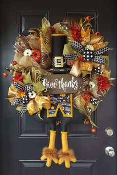 Turkey Give Thanks Thanksgiving/fall wreath turkey bottom wreath Thanksgiving home decor Thanksgiving Wreaths, Autumn Wreaths, Holiday Wreaths, Thanksgiving Decorations, Thanksgiving 2020, Fall Decorations, Wreath Tutorial, Deco Mesh Wreaths, Give Thanks