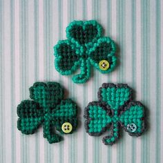 "Plastic Canvas: Shamrock Magnets (set of 3) -- ""Ready, Set, Sew!"" by Evie"
