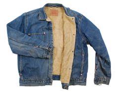 Vintage winter fur lined Levi 71511 sherpa shearling denim jacket coat - Extra Large #EasyPin