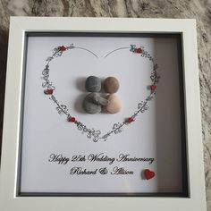 Wedding Anniversary Pictures, Pearl Anniversary, 25th Wedding Anniversary, Pebble Pictures, Stone Pictures, Art Pictures, Pebble Art Family, Art Friend, Birthday Pictures