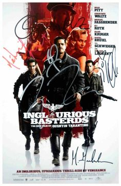 Inglourious Basterds signed movie poster by 6 Tarantino, Brad Pitt | eBay