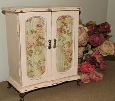 Upcycled Vintage Shabby and Distressed Wood Jewelry Box/Armoire,Hand Painted in Cece Caldwell 'Portland Rose' (light pink) Chalk Based Paint...