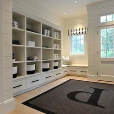 Mudroom Built In Example Of A Coastal Light Wood Floor Entryway Design New With White Walls And Bench Cubbies Staircase Interior Design, Entry Way Design, Home Decor Styles, Custom Furniture, White Walls, Mudroom, Interior Inspiration, Shelving, New Homes