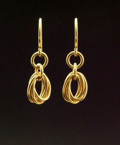 Earrings color Gold Handmade in solid bronze chain and gold plated sleeper goldfilled