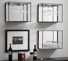 Save space and stay organized with wall shelves and floating shelves from Pottery Barn. Find wood, metal and glass shelves in various styles to complete your space. Wine Glass Storage, Wine Glass Shelf, Glass Shelf Brackets, Glass Wall Shelves, Glass Shelves Kitchen, Wine Shelves, Bar Shelves, Wine Glass Rack, Display Shelves