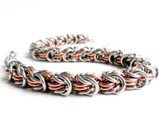 Copper  Stainless #Chainmaille #Bracelet Rosetta Pattern  by ChainmailleByBim