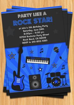 Boys Rock Star Birthday Party Invitation by eventfulcards on Etsy, $15.99