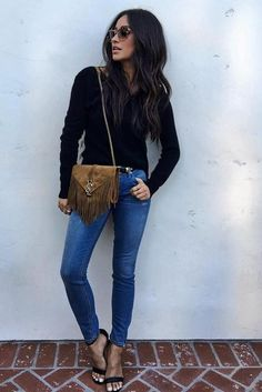 Shay Mitchell wearing Saint Laurent Monogram Fringed Suede Shoulder Bag