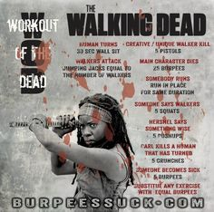I love these Walking Dead workouts! Tv Show Workouts, Fun Workouts, Exercise Routines, Walking Dead Gifts, The Walking Dead, Bikini Ready, Healthy Exercise, Workout Session, Tv Episodes
