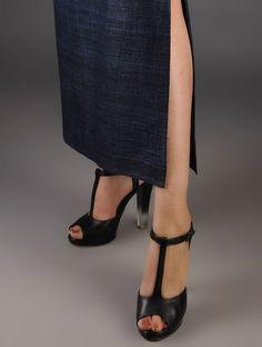 Navy Ghicha Silk Side Slit Skirt Slit Skirt, Dress Collection, Clogs, Peep Toe, Silk, Navy, Heels, Skirts, Cotton