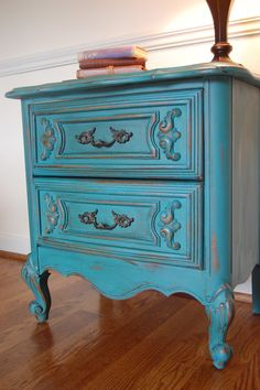 end table painted in annie sloan florence with dark and clear wax