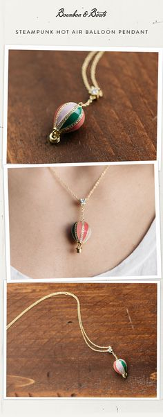 $30.00 Tired of flat jewelry and ready to step up to the stylish world of 3 Dimensions? This stunning hot air balloon pendant on chain reminds you of scenes from the Wizard of Oz or the splendor of the Albequerque International Balloon Fiesta.    Using three beautiful pastel colors and clear-glass crystals, surrounded by 18kt Gold plated trim these whimsical pieces will lift your mind beyond the grips of earth's gravity.