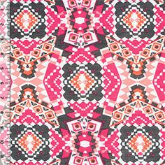 Pink Gray Ethnic Kaleidoscope Cotton Jersey Blend Knit Fabric