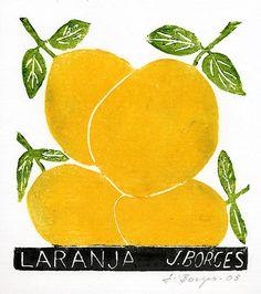 Laranja - José Francisco Borges (Brazil), Woodcut print on paper (7 1/2 x 7), 2007, 2008, 2009, 2011