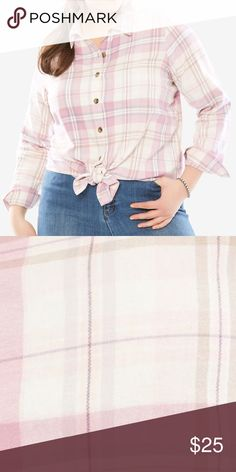 """The Classic Flannel Shirt New and improved thicker cotton flannel brushed to perfection for cozy comfort. In your favorite 30"""" tunic length. Button front, shirttail hem. Color: MAUVE ORCHID MULTI MIX PLAID 30"""" tunic length Pure cotton Imported Machine washable Classic Tops Button Down Shirts"""