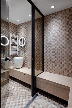 Creative wooden loft apartment situated in Sofia, Bulgaria, designed by Studio Mode. Loft Studio, Huge Windows, Industrial Loft, Bed & Bath, Amazing Bathrooms, Decor Styles, Architecture Design, Bathtub, Contemporary