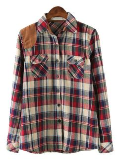 Purple Lapel Long Sleeve Plaid Pockets Blouse - Sheinside.com