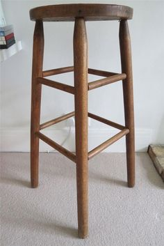 Tall Vintage Wooden Rustic Oak Kitchen Bar Table Stool Chair Breakfast Bar High