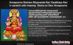 Learn the meaning of sanskrit slok of Goddess Annapurna - 'Nityananda kari varabhaya kari'