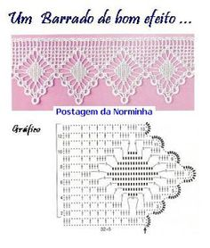 Simple filet crochet lace edging; wide spider and points ~~ OFICINA DO BARRADO…