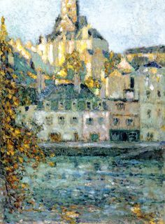 Houses on the Water, Quimper, Finistere, by Henri Le Sidaner Impressionist Paintings, Landscape Paintings, Landscapes, Gravure Photo, Water House, Mauritius, Lovers Art, Les Oeuvres, Photos