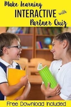 Make your lessons fun and effective with partner quizzes. They are engaging. Every student is up and interacting with the content. It provides a brain break. You can use this activity with almost any academic content or subject. It does not take a lot of Cooperative Learning Strategies, Kids Learning Activities, Teaching Strategies, Learning Resources, Teaching Tips, Classroom Posters, Primary Classroom, Classroom Ideas, Teaching Second Grade