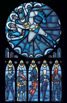 Batman Batfam Stained Glass - Red hood ( Jason Todd ), Alfred Pennyworth, Nightwing ( Dick Grayson ), Robin ( Tim Drake ), Batgirl ( Barabra Gordon ) and of course Batman ( Bruce Wayne ) Nightwing, Batgirl, Batwoman, Heros Comics, Nananana Batman, I Am Batman, Batman Room, Batman Stuff, Batman Art