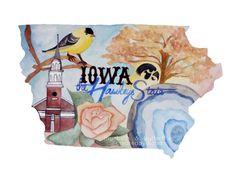 Iowa the Hawkeye State Art Print by BluebellsButterflies on Etsy