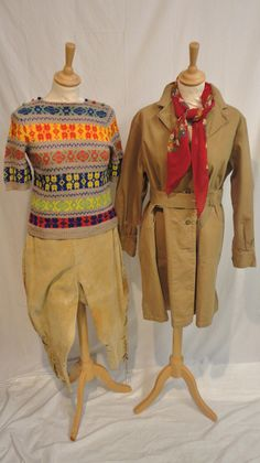 """World War II Women's Land Army Uniform World """". . .including a pair of cord breeches, canvas overall with tie waist and a pair of Parker Shoes brown leather lace ups (size 7.5) all marked 'Women's Land Army'; knitted fair isle style short sleeved jumper with buttons to the shoulders; pair of ladies K Shoes brown leather brogues with tassel trim and lace; two felt embroidered WLA arm bands, green WLA tie and badge."""""""