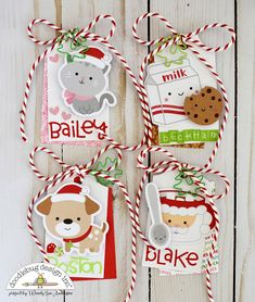 Holiday Christmas Gift Tags by Wendy Sue Anderson for Doodlebug Design Create Christmas Cards, Christmas Paper Crafts, Christmas Projects, Holiday Gift Tags, Christmas Gift Wrapping, Christmas Tag, Handmade Tags, Greeting Cards Handmade, Santa Stamp