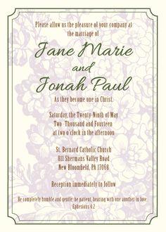 christian wedding invitation wording Google Search wedding