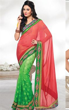 Picture of Pleasing Green and Pink Color Net Saree