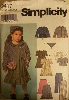 Simplicity Pattern  9417 size 3-8 Girls' Dress, Top, Skirt, Pants, Jacket, Scarf…