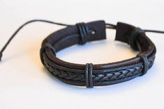 Leather and Hemp Braided Bracelet Men Women by BraceletStreetUSA