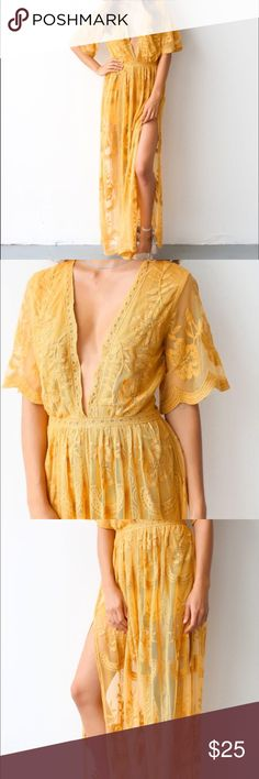 Mustard lace romper maxi dress New never worn mustard lace dress with romper style shorts under (one piece). Low plunging v neckline. Available currently for $68 on the vici collection website. Dresses Maxi