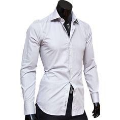 e8e9d75c13b Рубашки мужские 100% хлопок купить недорого в Москве. Рубашка Poggino  приталенная цвет серый однотонный
