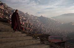 Тибетский монах и Буддийская академия Ларунг Гар